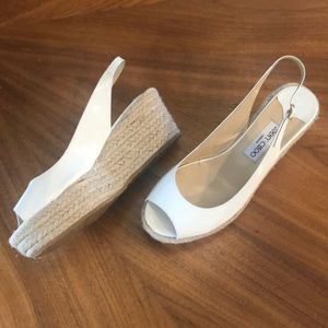 Jimmy Choo White Patent Leather Espadrille Size 40